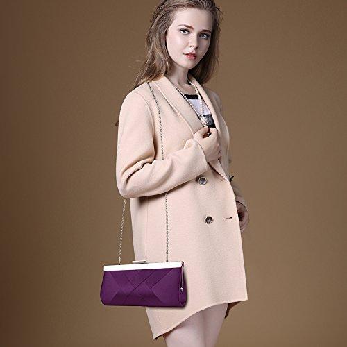 Handbag Party Chain Clutch Strap Purple Purse for with Bag Bidear Women Satin Wedding Evening wUIqnFz01x