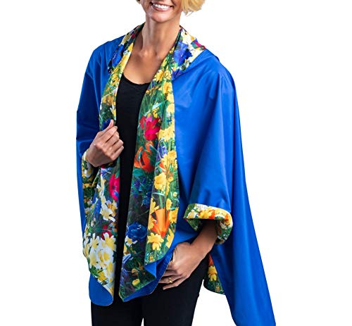 RainCaper Rain Poncho for Women - Reversible Rainproof Hooded Cape in Gorgeous Ultrasoft Colors (Royal/Wildflowers-Blue & Yellow)