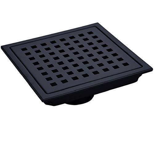TRUSTMI 6-Inch Square Shower Floor Drain with Removable Grid Grate, SUS 304 Stainless Steel, Matte Black (Shower Grid Kit Drain)