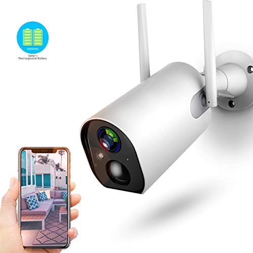 Outdoor Camera Wireless, Rechargeable Security Camera, Motion Detection, 2-Way Audio, Clear Night Vision, with 10400mAh Battery, 4DB Wireless Antenna, Compatible with Cloud Storage/SD Slot