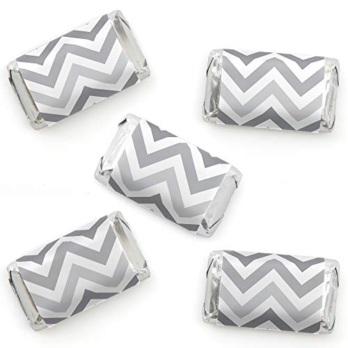 Chevron Gray - Mini Candy Bar Wrapper Stickers - Baby, Bridal Shower or Birthday Party Small Favors - 40 Count ()