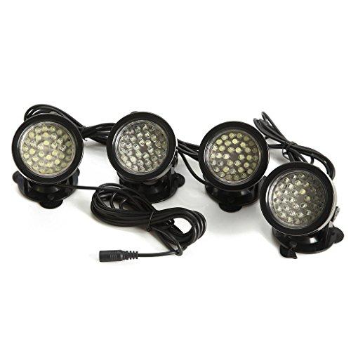 SODIAL(R) 4x 36 LED Weiss Aquarium Unterwasser Strahler Teichbeleuchtung Lampe wasserdicht Lichter Aussenstrahler Spotlight fuer Garten Aquarium Teich Schwimmbad