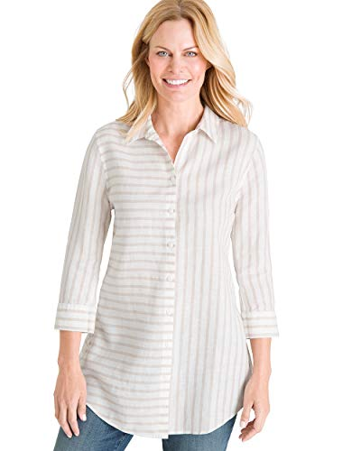 Chico's Women's No-Iron Linen Striped Side-Button Tunic Size 4 S (0) Tan