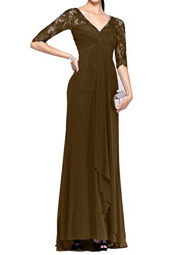 Royal Braun Ballkleider Charmant Abendkleider Dunkel Langarm Spitze 4 Brautmutterkleider Damen 3 Bodenlang Blau qfgwnOf5