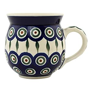 Ceramic Artystycna Peacock Leaves Bubble Mug, 12 oz, Blue
