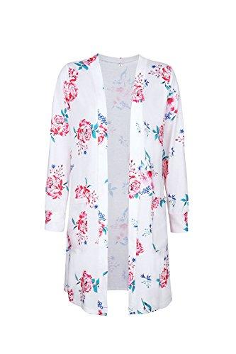 Minetom Mujer Otoño Cárdigan Cubra Kimono Impresión Floral Mangas Largas Kimono Chal Chaqueta de Moda Blanco
