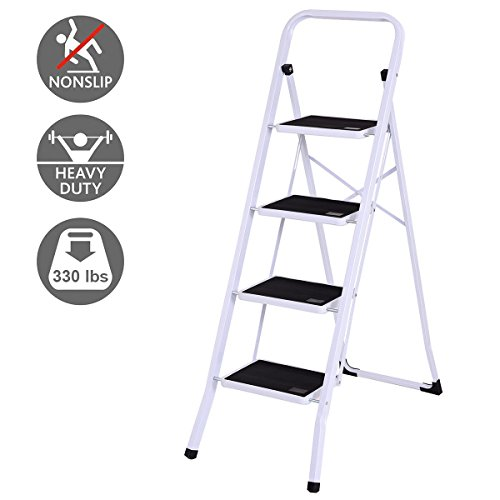 Incredible Giantex 4 Folding Step Ladder Steel Step Stool W Anti Slip Wide Pedal Convenient Handgrip X Shaped Frame Stepladder 330Lbs Capacity Pdpeps Interior Chair Design Pdpepsorg