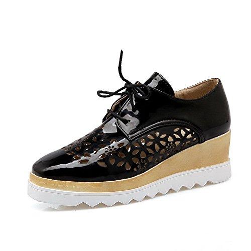 Amoonyfashion Damesschoenen Vierkante Dichte Neus Kitten-hakken Lakleer Stevige Veterschoenen Pumps-schoenen, Zwart, 43