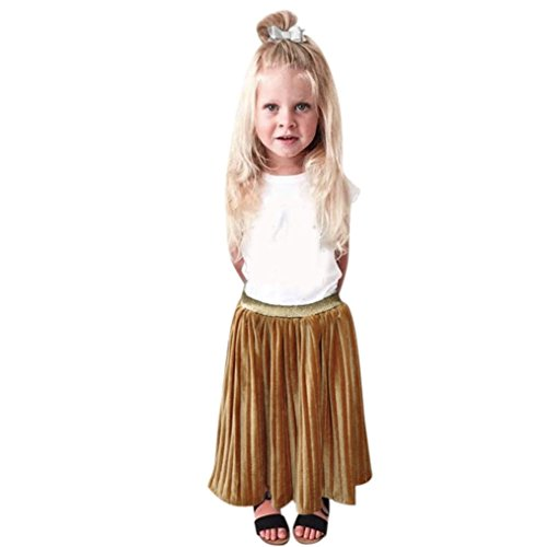 Transer Summer Children Girls Pleated Skirt Party Skirt Long Skirt (4T, Gold)
