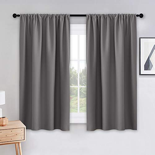 PONY DANCE Bedroom Blackout Curtains - Grey Window Treatments Set Home Decoration Curtains Light Blocking Solid Soft Rod Pocket Drapes for Bedroom Living Room, 42 by 54 in, Gray, 2 Pieces