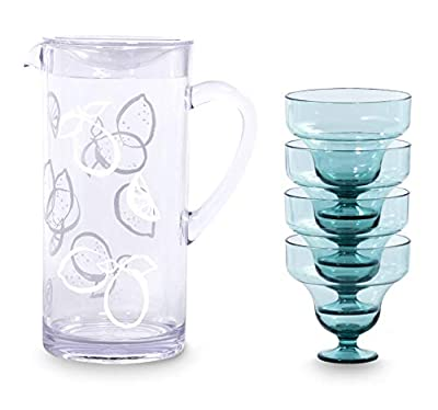 Kate Spade New York Margarita Party Kit with Acrylic Pitcher and 4 (9 ounce) Cups, Light Blue
