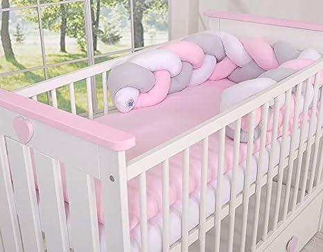 Tour de lit bébé Magic Loop blanc gris rose - Fabrication ...