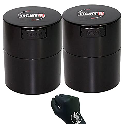 2 Pack of Tightvac - 1/2 oz to 3 ounce Airtight Multi-Use Vacuum Seal Portable Storage Container for Dry Goods, Food, and Herbs, Black + (Tightvac 4 Ounce)