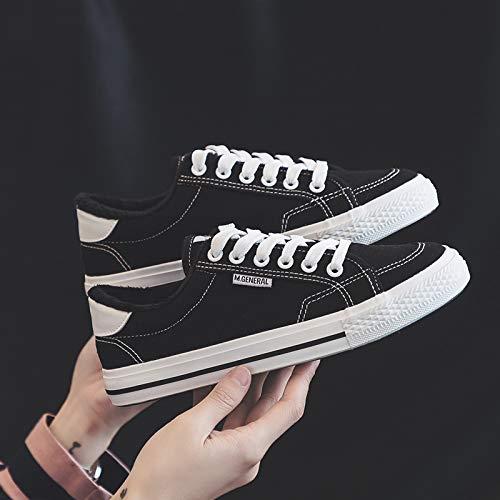 Yundongxienv Nouveau Noir Etudiants 2018 Chaud Chaussures Blanc Femmes Plat Toile Sauvage Sport Hiver Noir Femelle Coton BwXBqrY