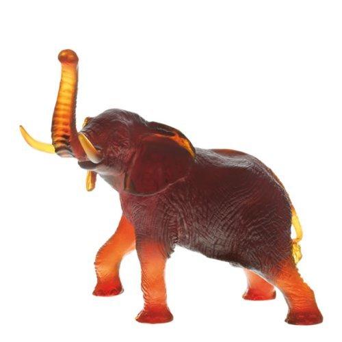 Daum Sculpture (Daum Glass - Animal Sculptures - Large Amber Elephant)