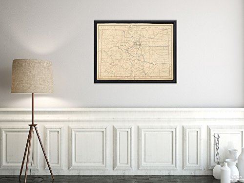 1895 Map Colorado Post Route of The State of Colorado Showing Post Offices with The Intermediate dis|Vintage Fine Art Reproduction|Ready to Frame ()
