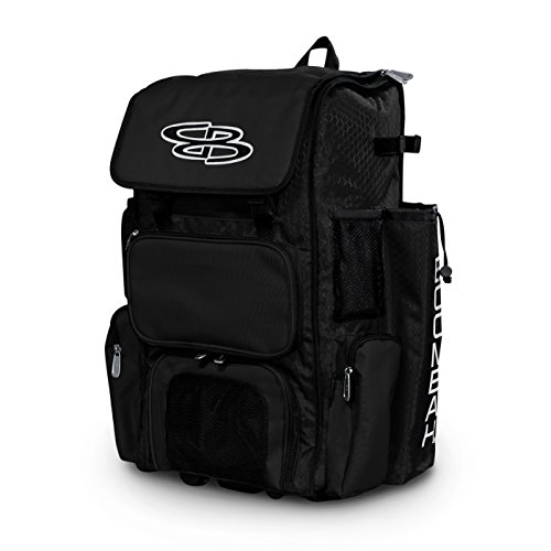 Boombah Rolling Superpack Baseball/Softball Gear Bag - 23-1/2' x 13-1/2' x 9-1/2' - Black - Telescopic Handle and Holds 4 Bats - Wheeled Version