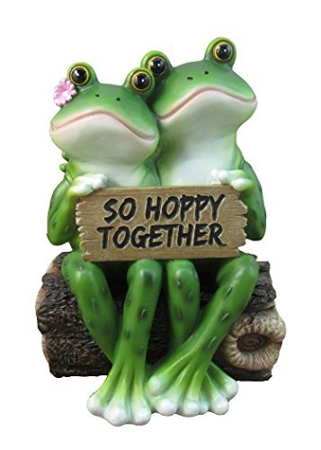 Happy Frog Couple ''So Hoppy Together'' Fun Decor Figurine By DWK | Valentine Romantic Couple Cute Amphibians