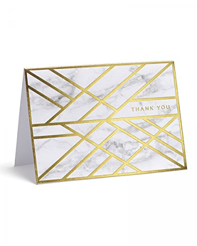 Foil Box Set (Marble and Gold Foil Thank You Cards, Set of 15, by George Stanley)