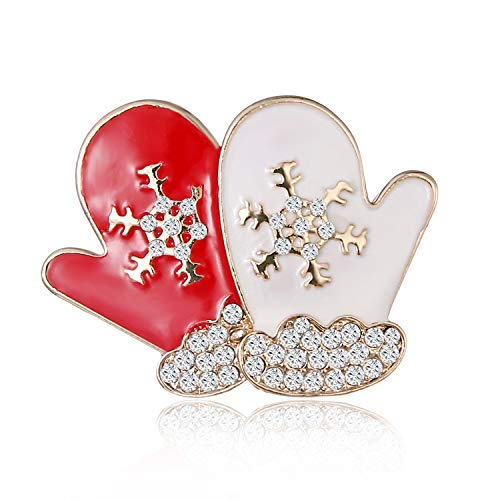 Holiday Christmas Pin (STI-JEWELS Christmas Gloves Brooches Pin Women Girls Holiday Party Cloth Jewelry Accessories)