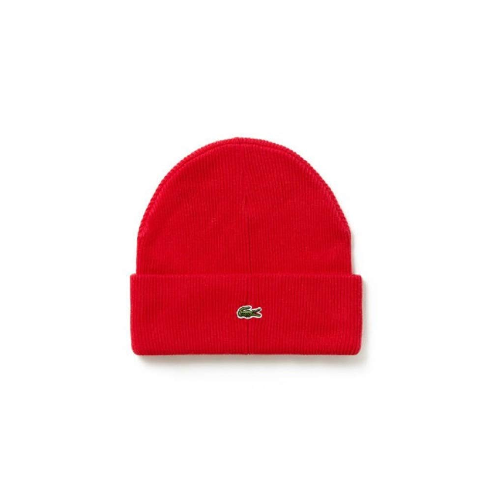 a42c418a625 Amazon.com  Lacoste Unisex Live Turned Edge Ribbed Wool Beanie  Clothing