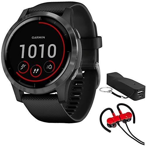 Garmin 010-02174-11 Vivoactive 4 Smartwatch, Black/Stainless Bundle with Deco Gear Magnetic Wireless Sport Earbuds, Red with Carrying Case and Voltix 2600mAh Portable Power Bank
