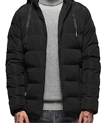 Hooded Black Coat Down Men Quilted Winter security Puffer Jacket Padded Warm Cotton qPOvfY