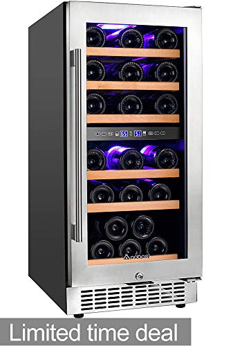 Aobosi 15'' Wine Cooler Dual Zone 30 Bottle Freestanding and Built-in Wine Refrigerator with Classy Look, Stainless Steel & Double-Layer Tempered Glass Door and Temperature Memory Function-Right ()