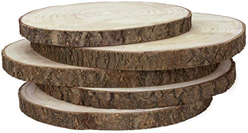 KARAVELLA Large Wood Slices for Centerpieces - 5 Pack Wood Centerpieces for Tables, 11 to 13 inches, Rustic Decor Wood Rounds, Natural Wood Slabs for Weddings, Wood Cake Stand, Rustic Home Decor