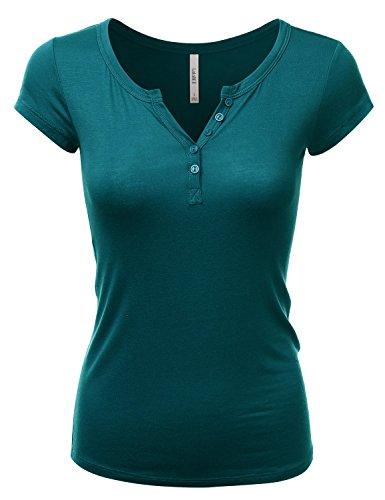 LALABEE Women's Deep V-Neck Short Sleeve Basic Henley Button T-Shirt for Women-DEEPJUNGLE-M