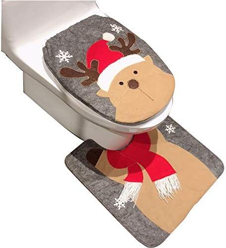 HESHIFENG. Party & accessories Decorazioni natalizie con Babbo Natale, pupazzo di neve, cervo e tappeto da bagno, set con sedile WC con abbassamento automatico (Deer Style 2)