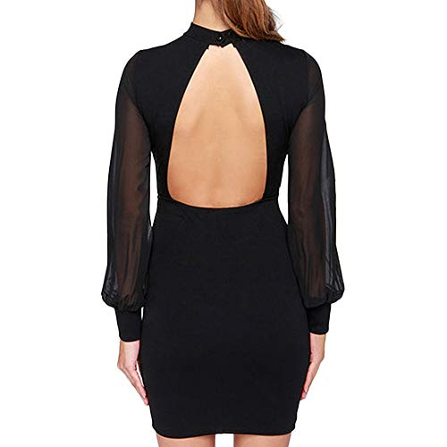Office Dress Translucent Slim Black Backless Sheath Pencil Sleeved Women Birdfly Skirt Mesh Fit 6wPqxvE