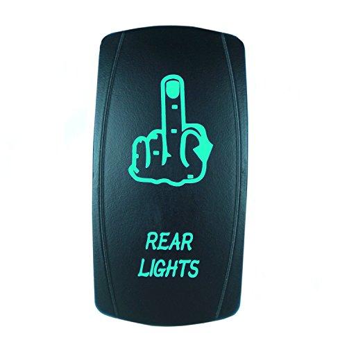QUNQI STAR 5 pin Laser Backlit Rocker Switch REAR LIGHTS 20A 12V On/off LED Light Toggle Switch (Green)