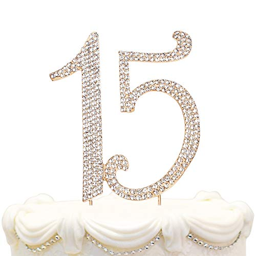 Hatcher lee Bling Crystal Quinceañera Happy 15 Birthday Cake Topper - Best Keepsake | 15th Party Decorations Gold