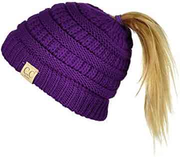 2a1194cade6f91 C.C BeanieTail Kids' Children's Soft Cable Knit Messy High Bun Ponytail Beanie  Hat