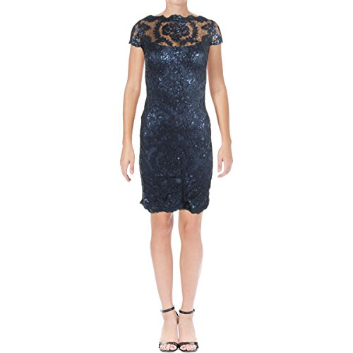 Tadashi Shoji Womens Petites Sequined Lace Cocktail Dress Blue 12P