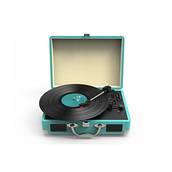 Record Player, MSTING Turntable Bluetooth for Vinyl Records 3 Speed with Two Dual Stereo Speakers Belt Drive Turntable 5