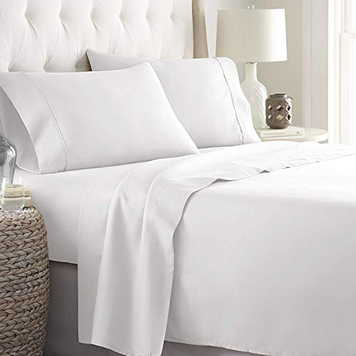 LINENWALAS 100% Cotton Bed Sheet – 800 Thread Count Deep Pocket 4 Piece Sheets | Silk Like Soft, Hypoallergenic, Breathable & Cooling Sateen | Hotel Luxury Bedsheets Deal (Cal King, White)