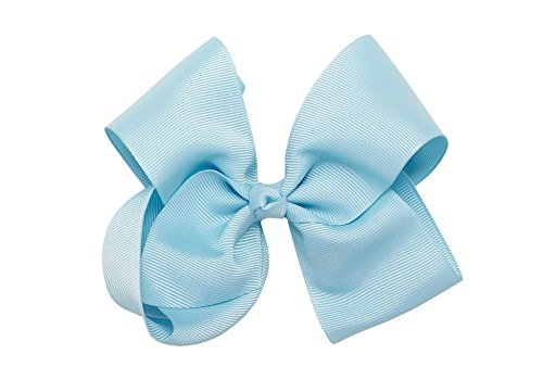 Beautiful Handmade Variety of Bright Colors Grosgrain Ribbon Bows with Alligator Clip (Lt. Blue)