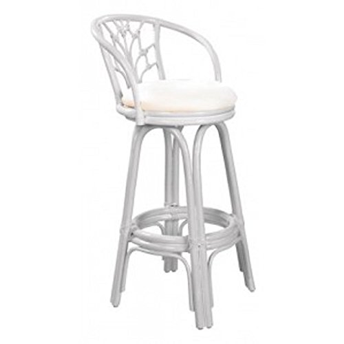 Panama Jack Valencia Indoor Swivel Whitewash Finish Rattan and Wicker 30-inch Bar Stool With Cushion