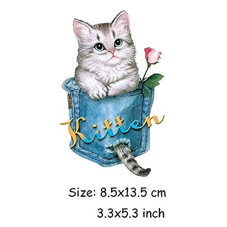 Shoppy Star - Conjunto de 3 Parches para Gatos para Ropa de Wahsbale con diseño de