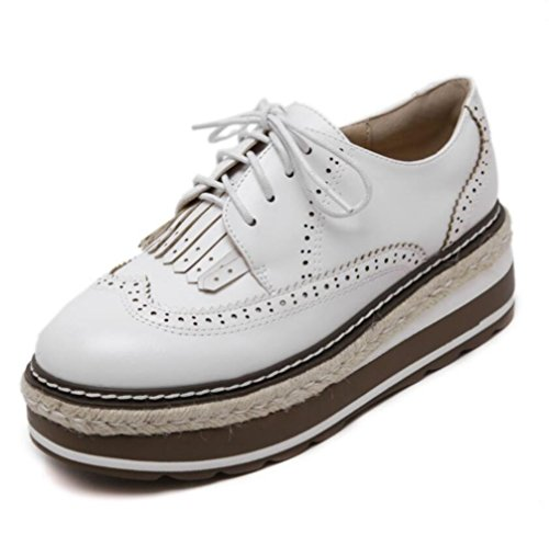 Zapatillas Linyi Ladies Womens Tie Head Round Deportivas Thick White Casual Bottom 8r8Oq