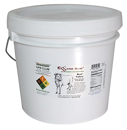 Beef Tallow Finest Quality - Food Safe - in 1 Gallon HDPE Pail - 8 lbs. by Essential Depot