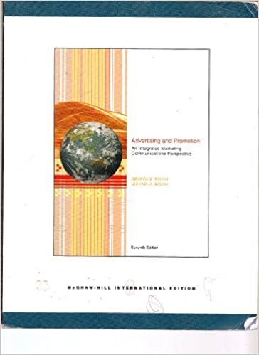 Advertising And Promotion An Integrated Marketing Communications Perspective International Edition Seventh George E Belch Michael A