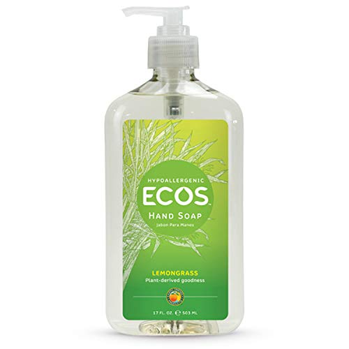Earth Friendly Products ECOS Hypoallergenic Hand Soap, Lemongrass, 17-Ounce Bottle (Pack of 6)