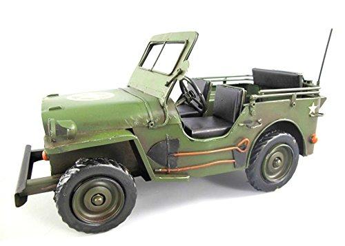 Militär Jeep USA Blechauto Auto Modellauto Antik Retro Vintage 30 x 15 x 13 cm meindekoartikel