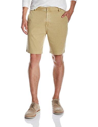 Quality Durables Co. Men's Stretch Cotton Regular-Fit Chino Flat-Front Short 32 x 10.5 Khaki