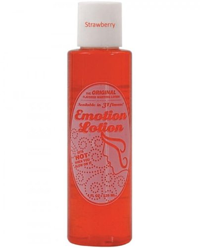Edible Water Basesd Original Flavored Warming Massage Oil STRAWBERRY by Emotion Lotion 4oz