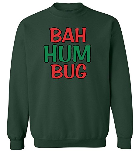 Joe's USA Bah Humbug Crewneck Sweatshirt-L-ForestGreen/c (Christmas Humbug Jumpers)