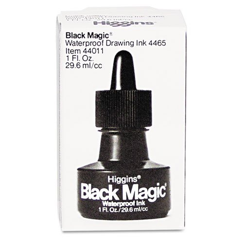 Higgins - Higgins Black Magic Waterproof Ink, Black, 1 oz Bottle - Sold As 1 Each - Intense, semi-flat black finish produces the most opacity available in any drawing ink.
